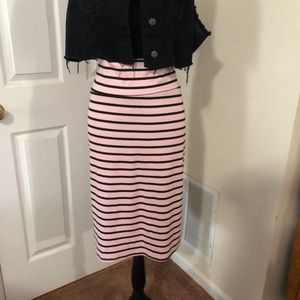 LuLaRoe Cassie pink and black striped skirt 2XL